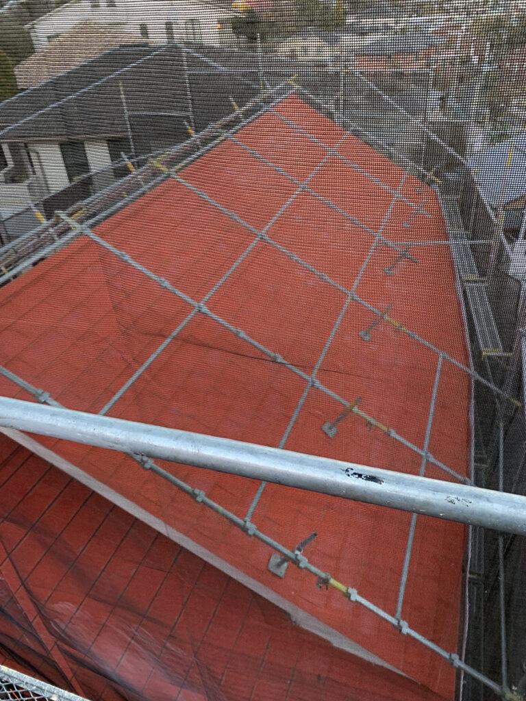 アンネのバラの教会 塗り替え工事 ペイントウォールの足場設置
