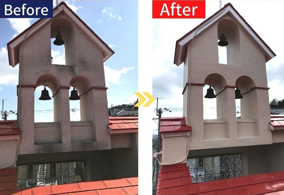 兵庫県、西宮市芦屋市の外壁屋根塗装ペイントウォールの塗装ビフォーアフター