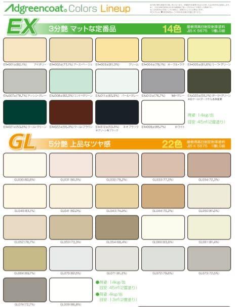 アドグリーンコート色種類